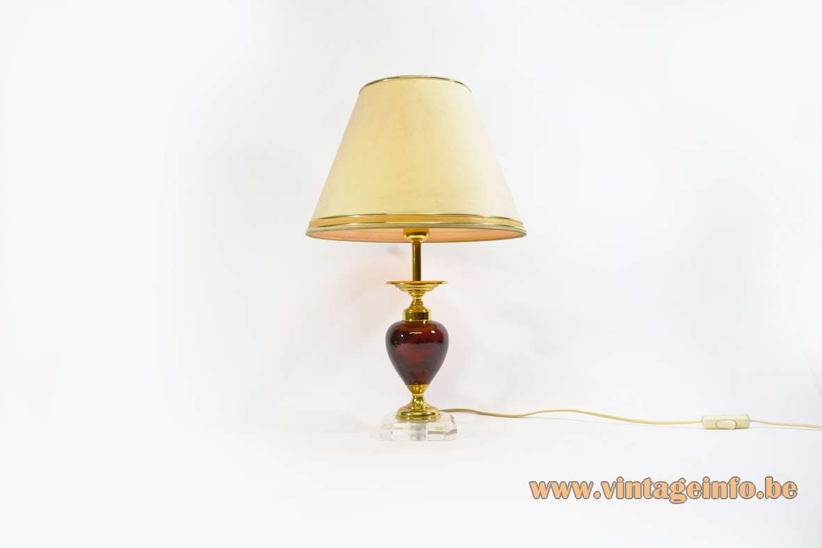 Le Dauphin table lamp clear acrylic square base maroon brown ceramics globe conical lampshade 1970s 1980s