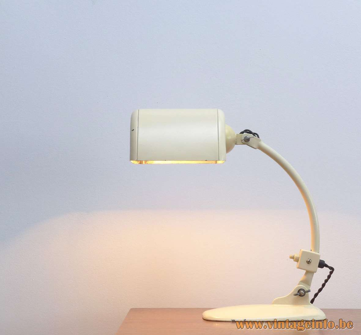 Molitor Novum Desk Lamp cast iron curved rod 1930s Bauhaus Kurt Zeisse Elektro-Industrie Berlin Germany