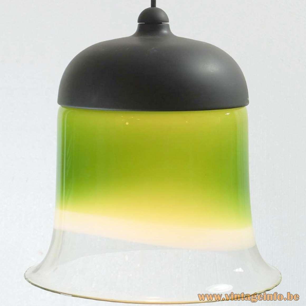 Peill + Putzler Bell Pendant Lamp clear below, coloured on top black plastic model AH182 1970s