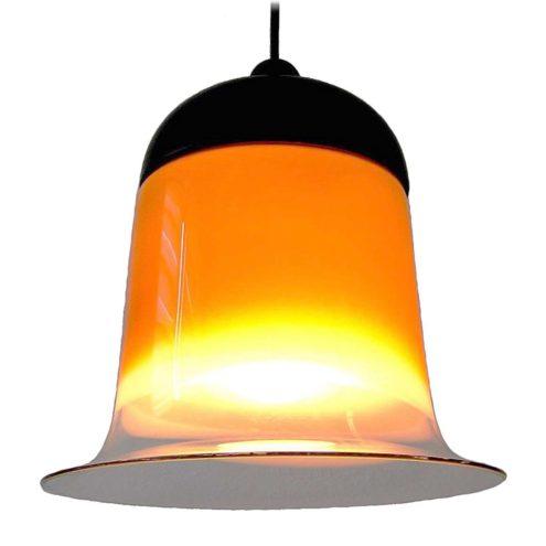 Peill + Putzler bell pendant lamp model AH 182 orange-brown glass lampshade black plastic lid 1970s Germany