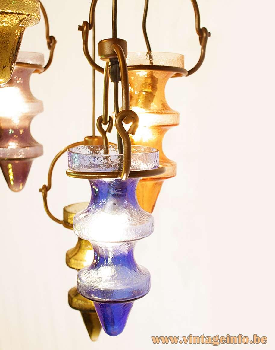 Raak chandelier pendant lamps Night Club designer: Nanny Still glass Val Saint Lambert 1950s 1960s MCM Mid-Century Modern