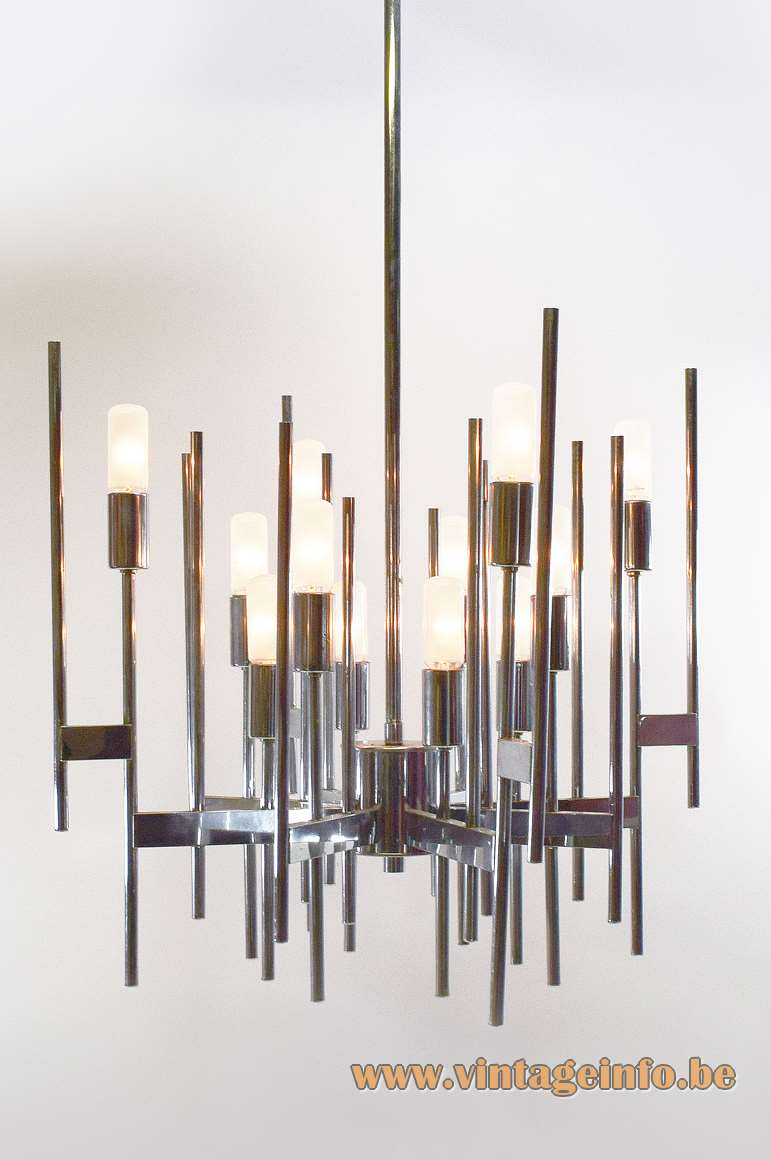 Gaetano Sciolari Chrome Tubes Chandelier - Different model