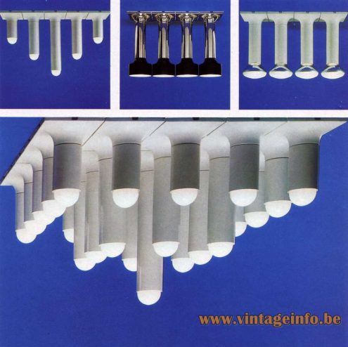 Staff Chrome Tube Flush Mount - Designer: Rolf Krüger - 1967