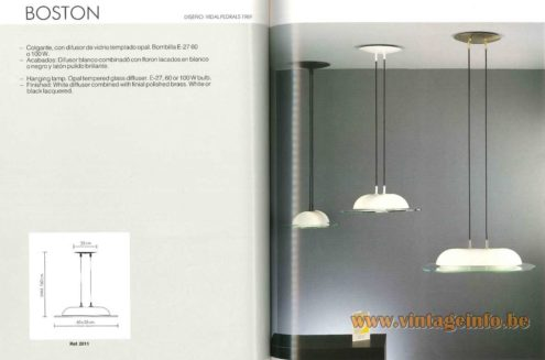 Vibia Boston Pendant Lamp design: Vidal Pedrals 1989 opal glass dome resting on a glass plate