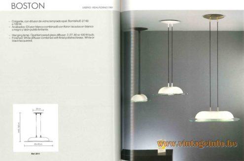 Vibia Boston Pendant Lamp design: Vidal Pedrals 1989 opal glass dome resting on a glass plate