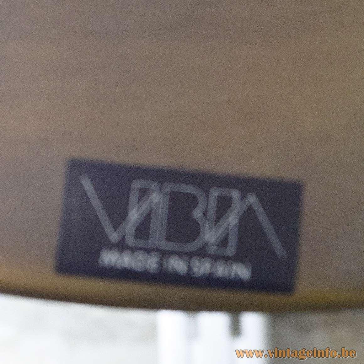 Vibia Boston pendant lamp 1989 design: Vidal Pedrals black rectangular label & logo 1980s 1990s Spain