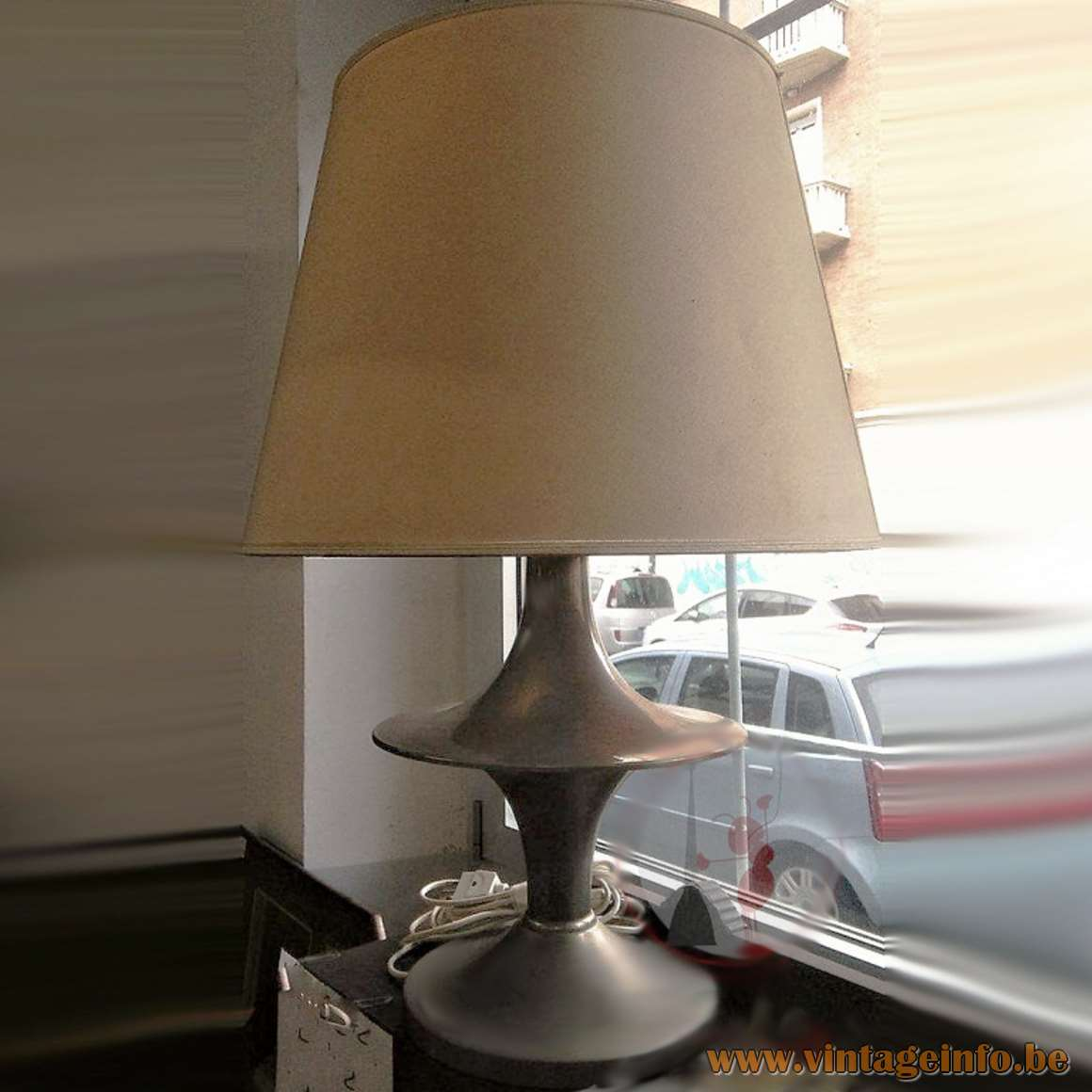 Vit Kellj Table Lamp nickel plated round light fabric lampshade 1970s MCM