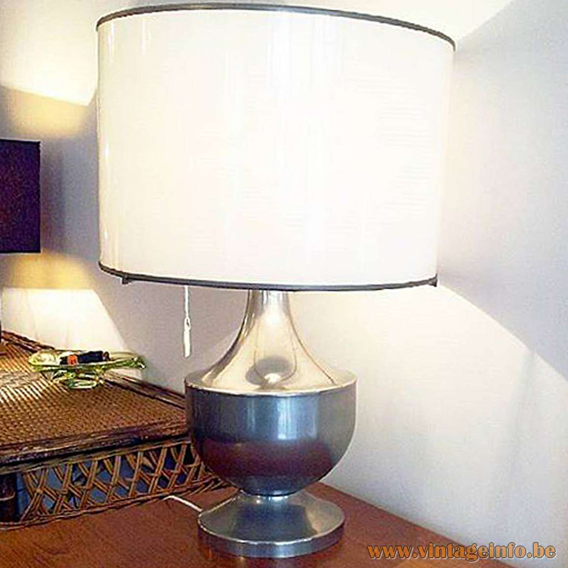 Vit Kellj Table Lamp nickel plated round light white acrylic lampshade silver plated rings 1970s MCM