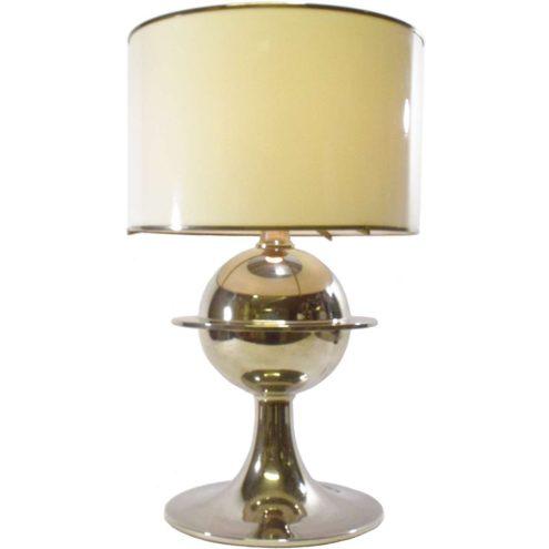 Vit Kellj table lamp nickel plated chrome Saturn globe white acrylic Perspex lampshade silver 1970s MCM