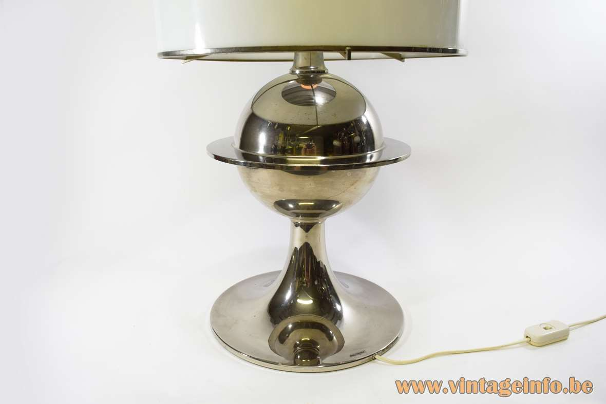 Vit Kellj Table Lamp nickel plated round Saturn globe white acrylic lampshade silver plated 1970s MCM