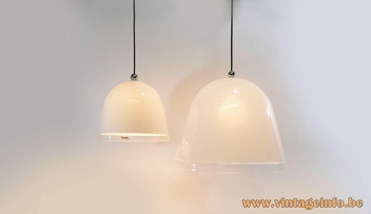 iGuzzini Kuala Pendant Lamp Designer: Franco Bresciani 1974 White & translucent acrylic bell shaped light 1970s