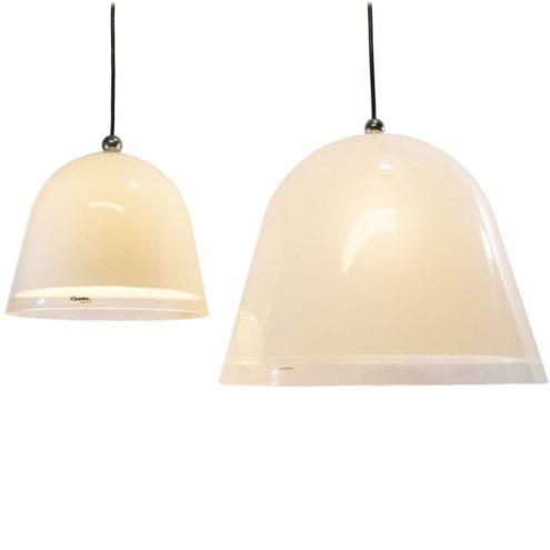 iGuzzini Kuala pendant lamp design: Franco Bresciani white & translucent acrylic conical bell lampshade 1970s Harvey Guzzini