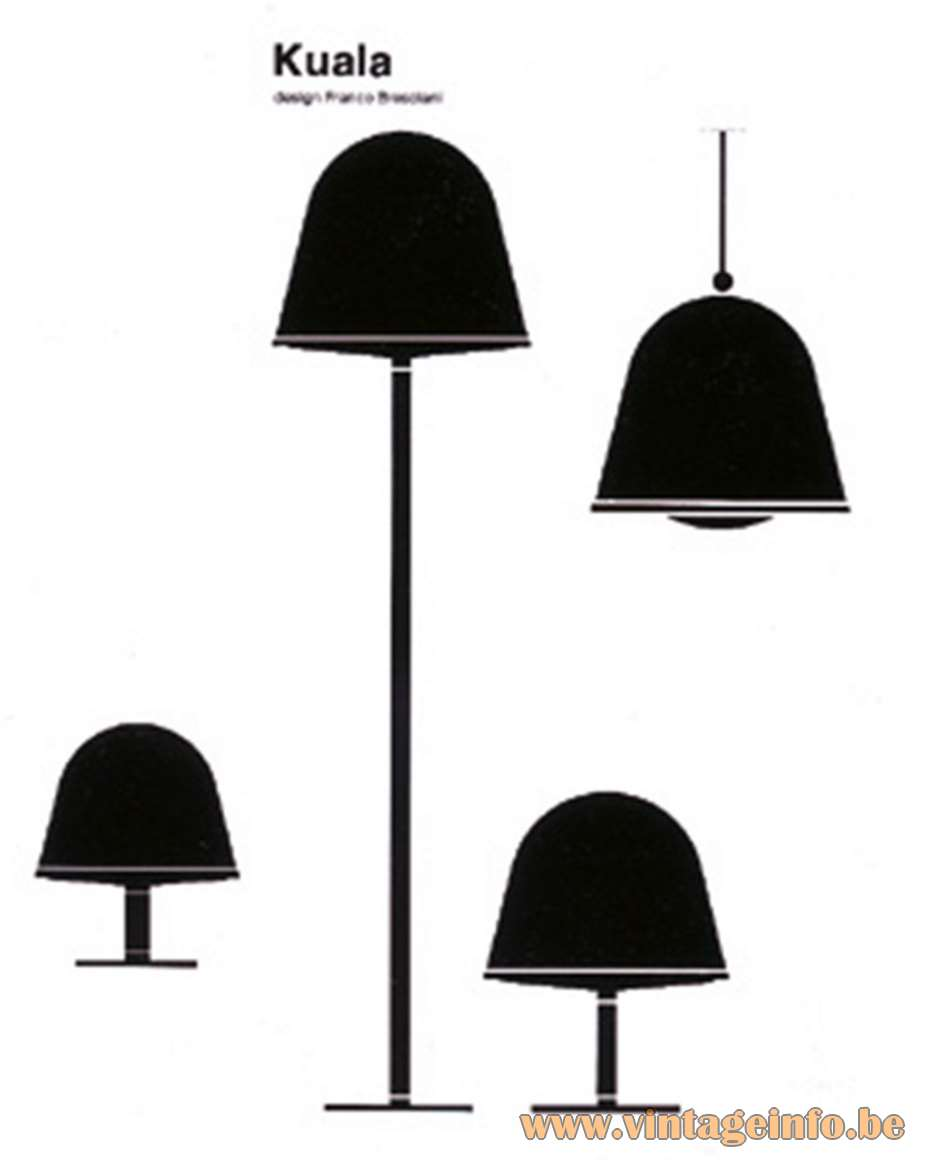 iGuzzini Kuala Lamps Designer: Franco Bresciani 1974 White & translucent acrylic bell shaped lights 1970s