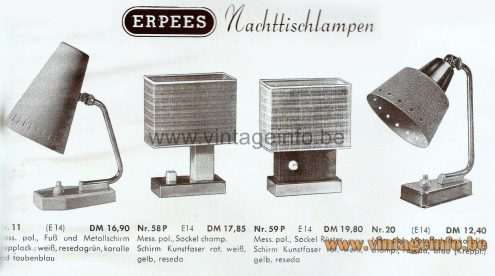 1950s perforated bedside lamp ERPEES Robert Pfäffle Germany catalogue picture 1950s 1960s MCM Mid-Century Modern