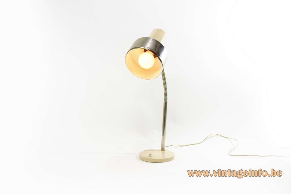 1960s Gooseneck desk lamp or table light, Hala Zeist Netherlands, chrome, white/beige, 1970s MCM
