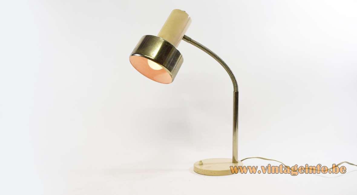 1960s beige gooseneck desk lamp round base chrome gooseneck and lampshade E27 socket made by Massive