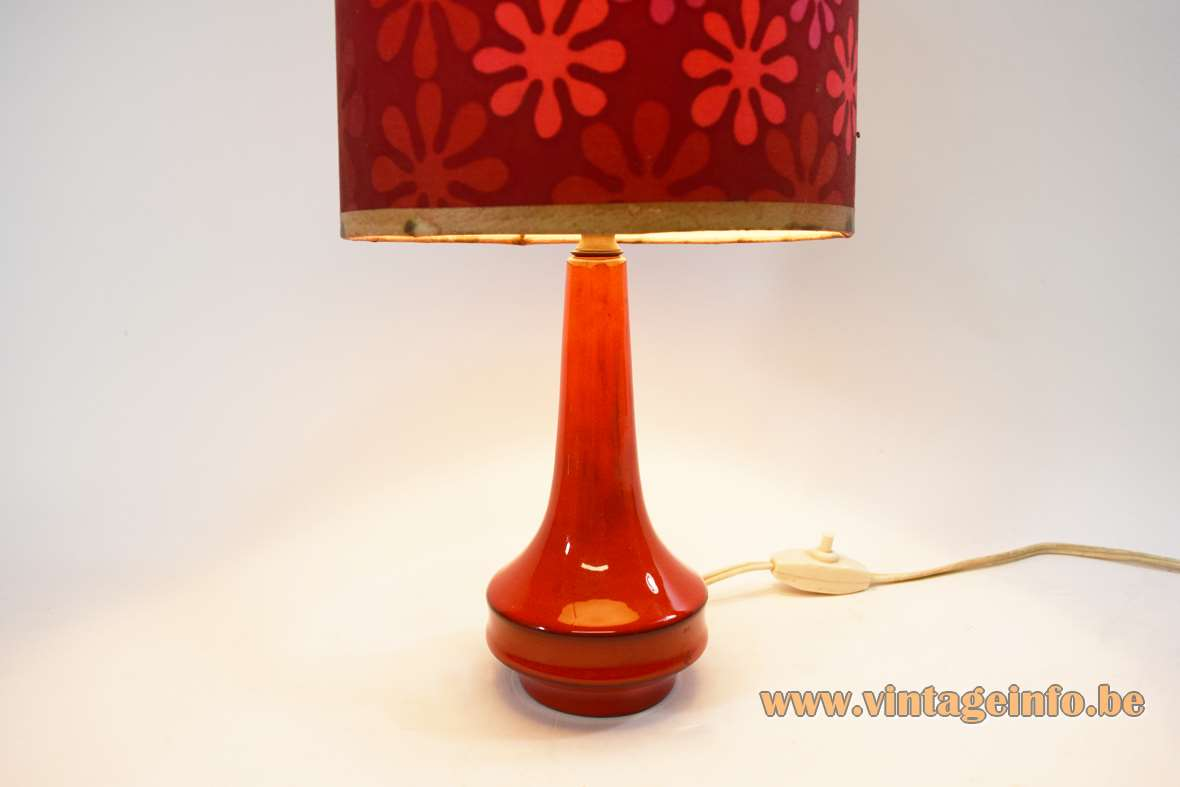 1960s red ceramic table lamp round base lampshade decorated with flowers 1960s 1970s MCM
