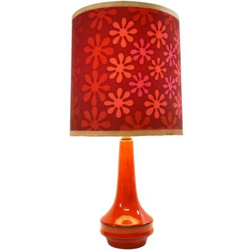 1960s red ceramic table lamp round base splash flowers lampshade 1970s MCM vintage E27 socket