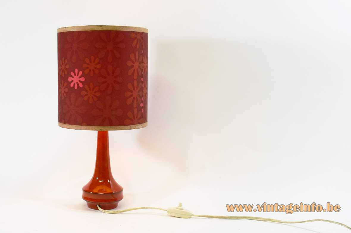 1960s red ceramic table lamp round base splash flowers lampshade 1970s MCM vintage E27 socket