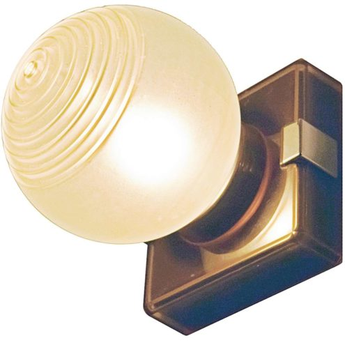 1970s art deco style wall lamp with square base in smoked acrylic chrome frosted glass globe
