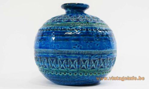 Aldo Londi Bitossi Rimini blue round ceramic vase