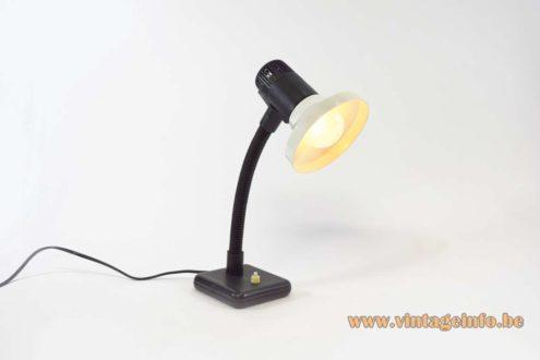Black & white desk lamp plastic porcelain E27 socket gooseneck Produced by Stilplast, Italy 1970s MCM