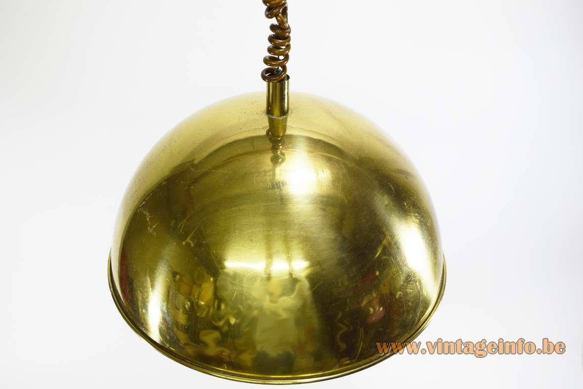 Brass Dome Rise & Fall Pendant Lamp white painted inside HHK Lift 2000 mechanism 1970s MCM