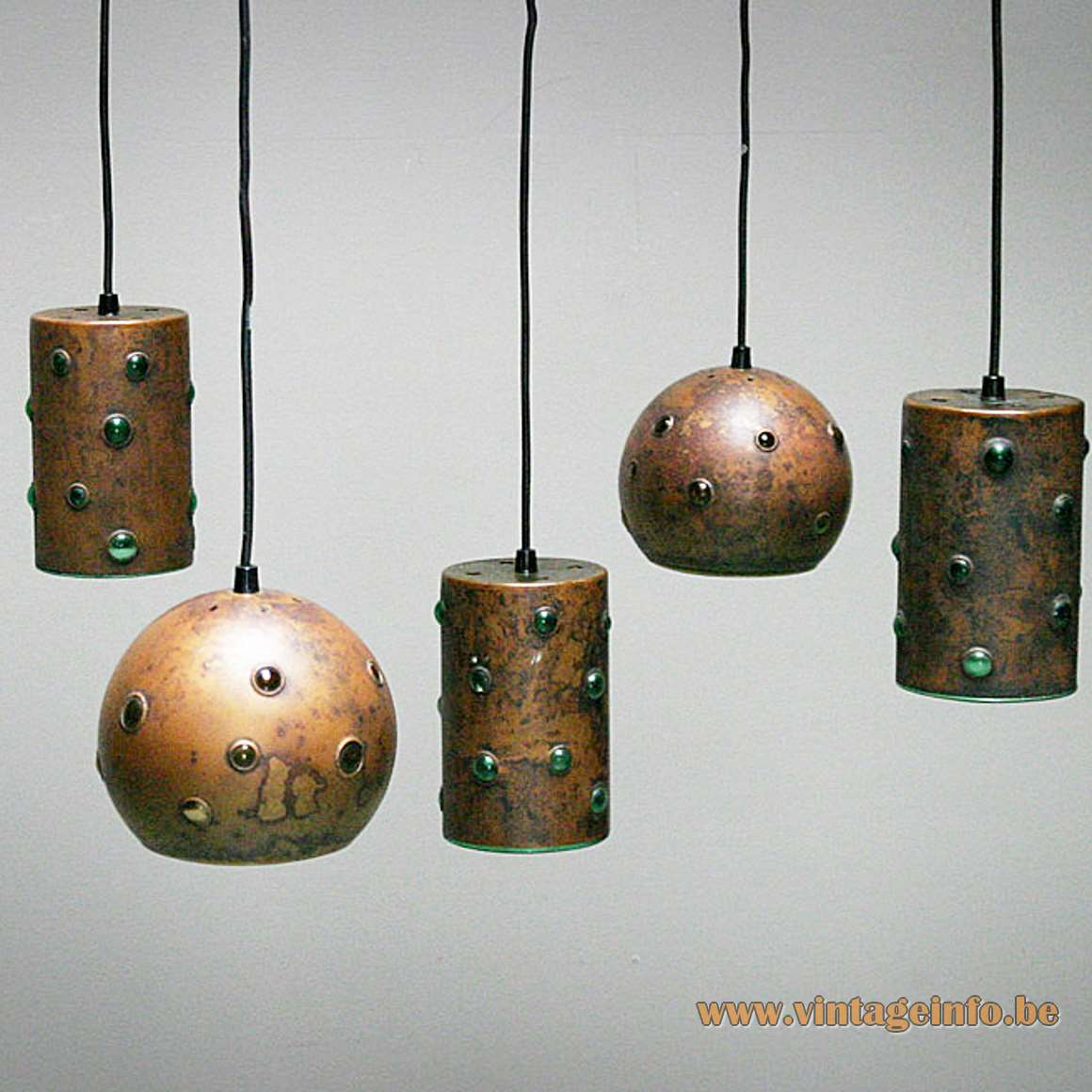 Burned Copper Caged Glass Pendant Lamps