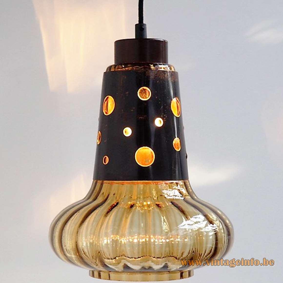 Burned copper & glass caged pendant lamps Nanny Still Raak Peill + Putzler 1960s 1970s MCM