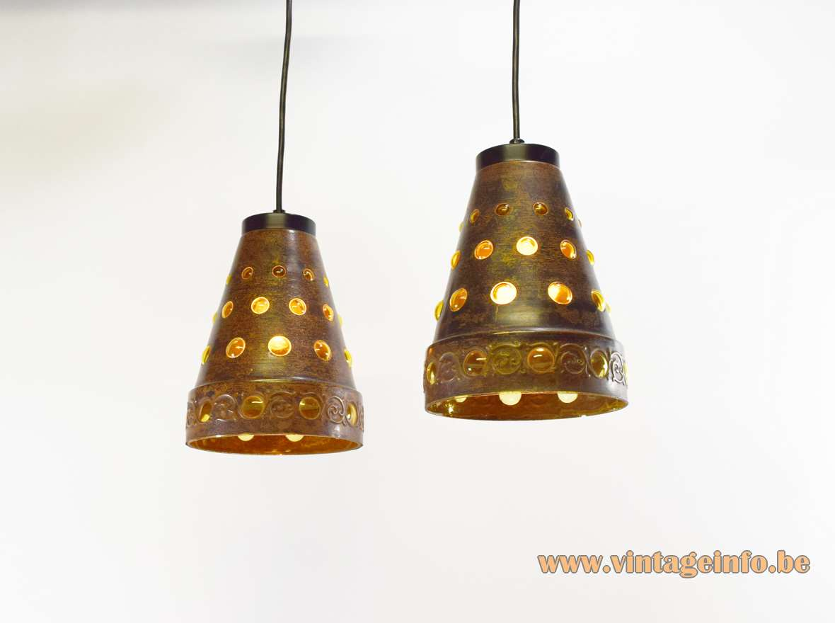 Burned copper & glass caged pendant lamps Nanny Still Raak Peill + Putzler 1960s 1970s MCM