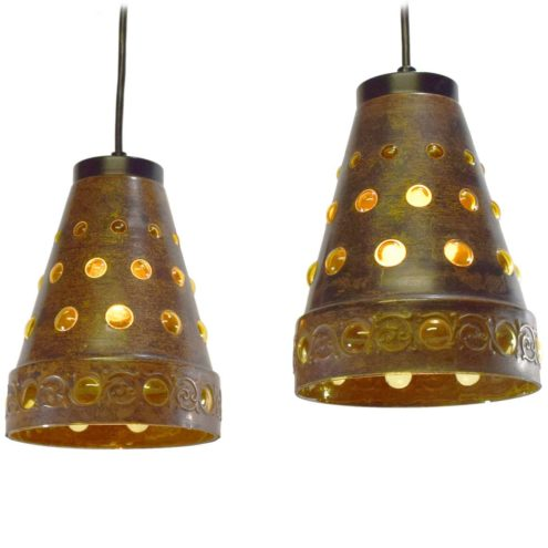 Burned copper & glass pendant lamps Nanny Still Raak conical lampshades round holes Peill & Putzler 1960s 1970s