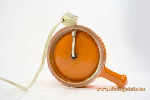 Ceramic Candlestick Bedside Lamp design Cari Zalloni round orange base white opal glass globe 1960s 1970s MCM