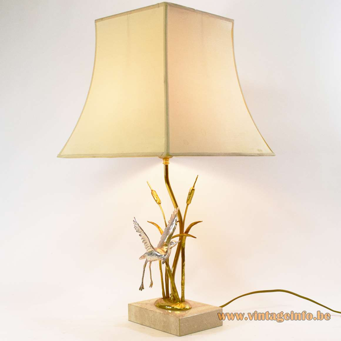 Cattails & herons table lamp gilded silver-plated bronze brass travertine limestone 1970s 1980s Hollywood Regency