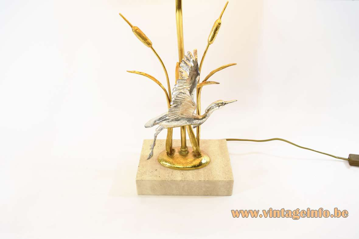 Cattails & herons table lamp limestone base silver plated bird gilded bullrush reed 1970s 1980s L'originale Italy
