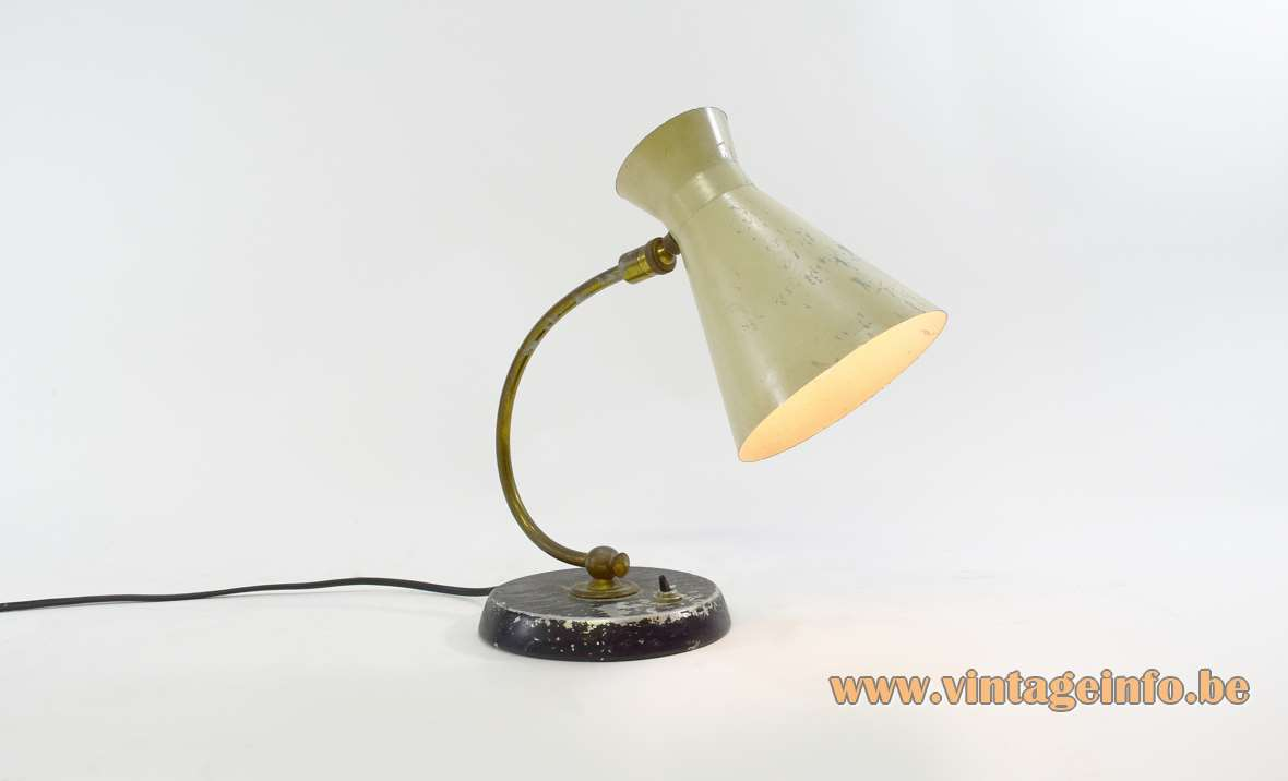 Erpé diabolo desk lamp round black aluminium base curved brass rod cream diabolo lampshade 1950s 1960s