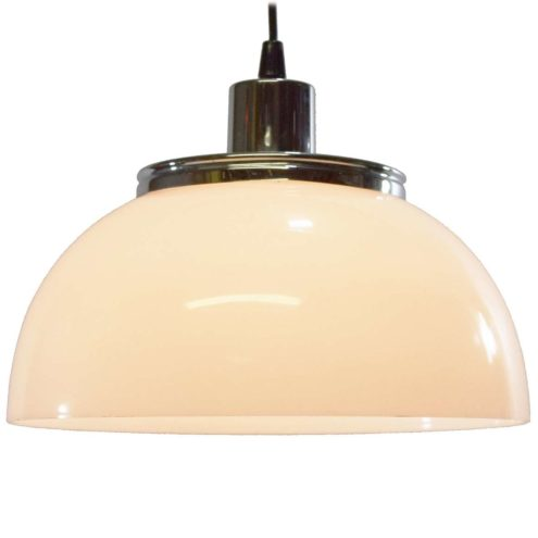 Harvey Guzzini Faro Pendant Lamp acrylic round mushroom lampshade chrome 1960s 1970s MCM model 2251 3031