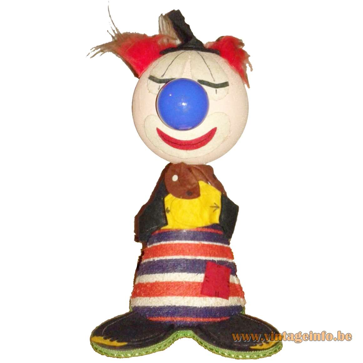 1970s Felt Clown Table Lamp kids night light fabric bedroom MCM 1960s figurine