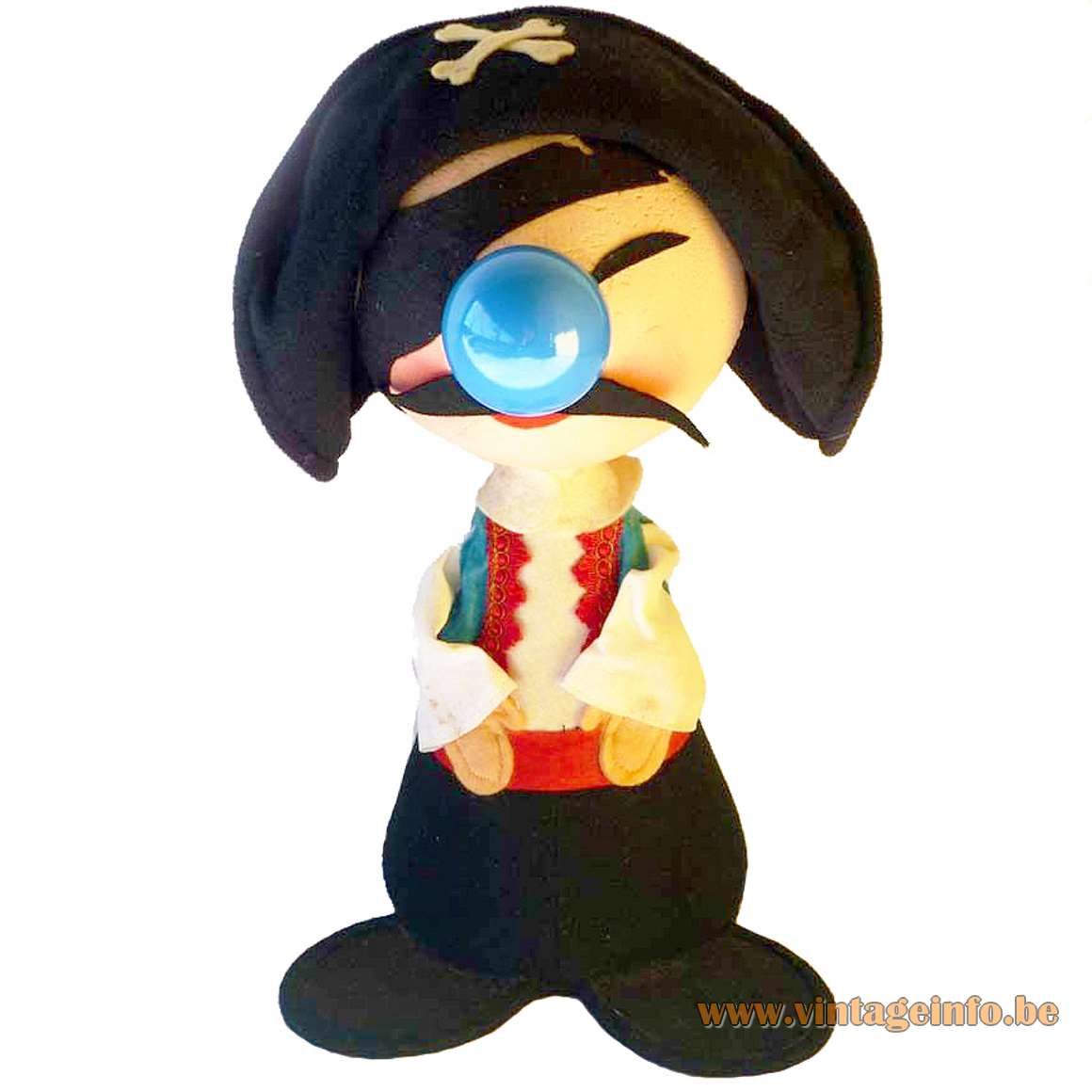 1970s Felt Pirate Table Lamp kids night light fabric bedroom MCM 1960s figurine