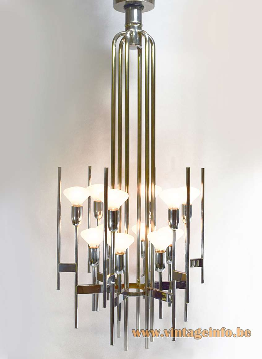Gaetano Sciolari Chrome Tubes Chandelier 1960s 1970s tubular 12 light bulbs Neolamp Italy