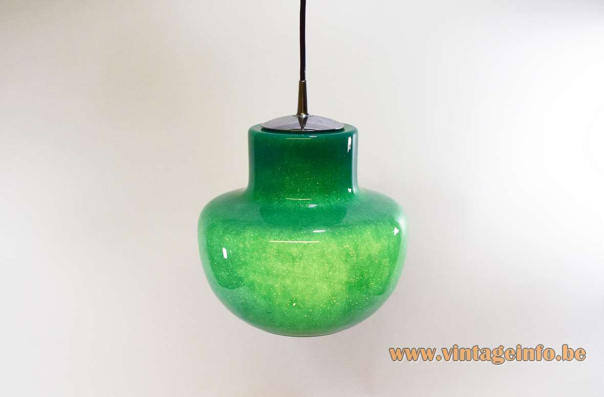 Green glass pendant lamp bubble glass lampshade chrome lid Peill Putzler Germany 1960s 1970s E27 socket