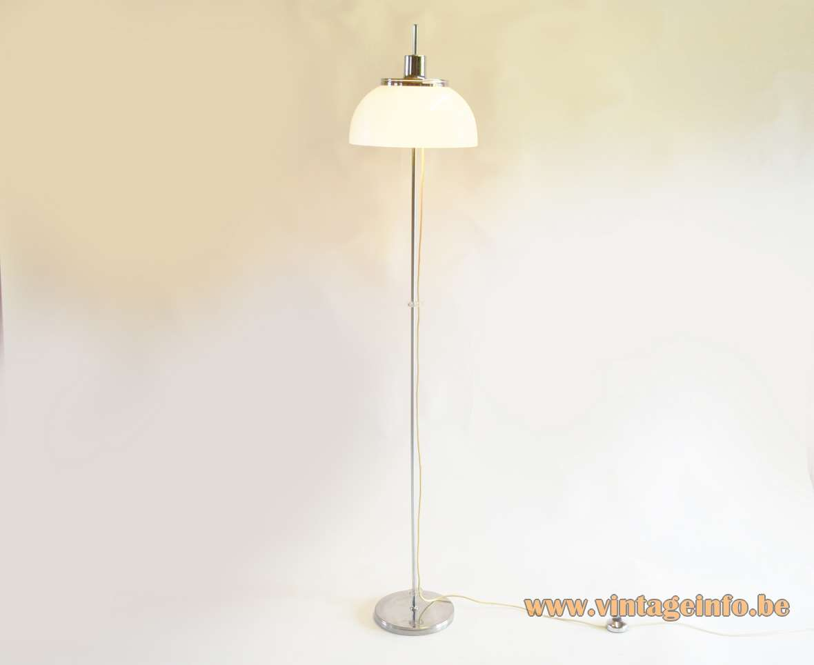 Harvey Guzzini Faro Floor Lamp acrylic round mushroom lampshade chrome 1960s 1970s MCM model 2249 4509