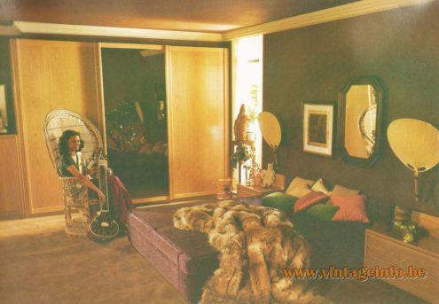 Ingo Maurer Uchiwa Wall Lamp, Design M, Hülsta, Vorbildlich Wohnen 6, 1980, bamboo, wood, 1970s MCM
