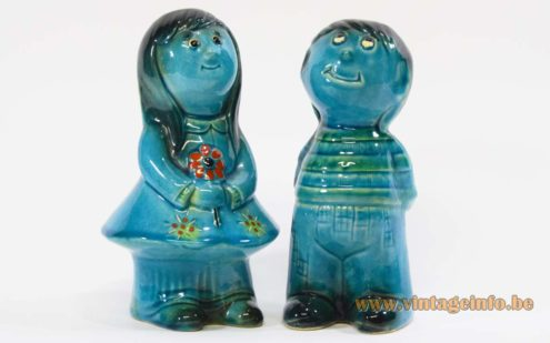 Jema Holland ceramic money-box boy and girl 1960s blue