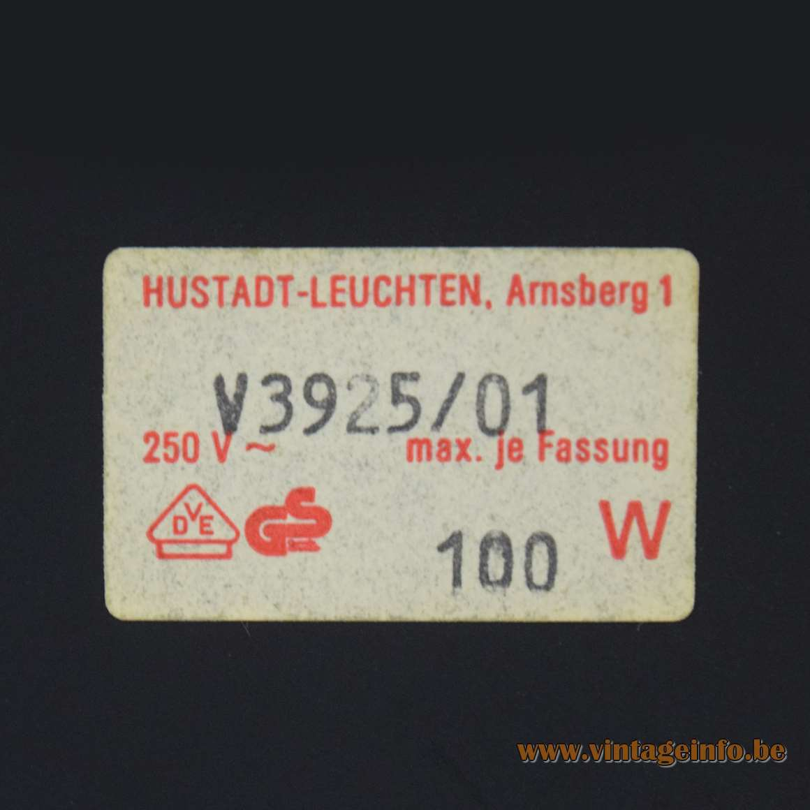 Klaus Hempel Desk Lamp - Hustadt-Leuchten label