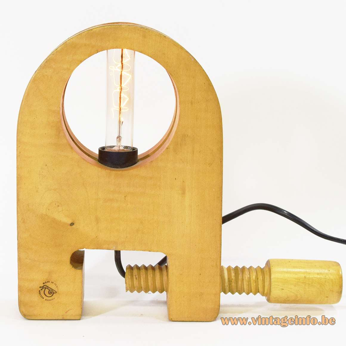 Moinier Besson Table Lamp maple wood vise E14 socket 1970s 1980s snail logo Made in France