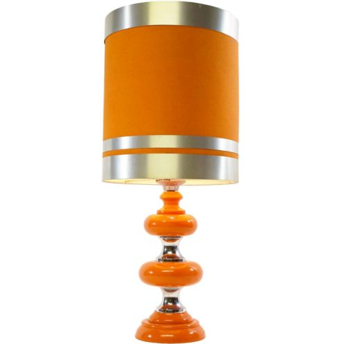 Orange 1970s table lamp wood discs & chrome base tubular lampshade metal rings Massive Belgium 1960s vintage