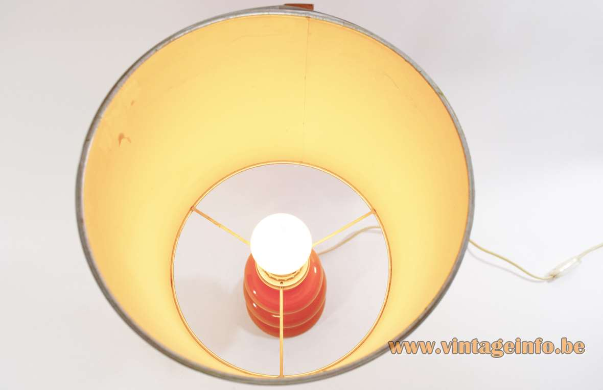 Orange 1970s Table Lamp wood and chrome round turning lathe Massive Belgium 1960s 1970s MCM