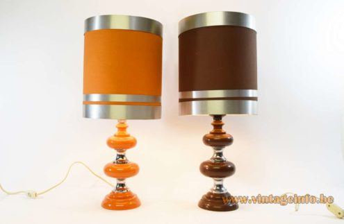 1970s Table Lamps wood and chrome round turning lathe Massive Belgium 1960s MCM Barbier style