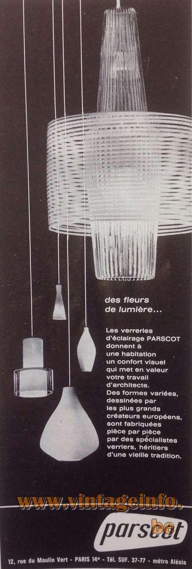 Aloys Ferdinand Gangkofner Pendant Lamp Venezia - Parscot, 12 rue du Moulin-vert Paris, France Publicity