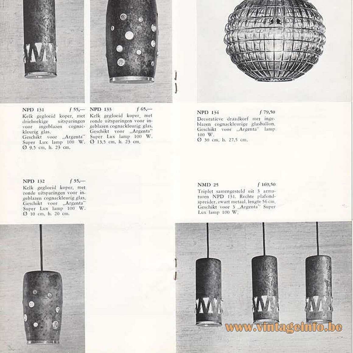 Burned Copper Caged Glass Pendant Lamps - Philips 1967 lighting catalogue